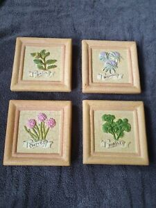 Kitchen Ceramic Wall Herb Picture Plaques (four)