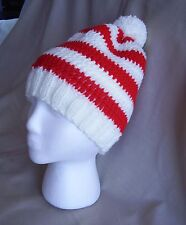 Handmade Knit/crochet Hat/beanie - red and white stripes