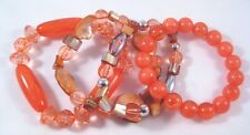 New 4 Piece Shell & Acrylic Beaded Stretch Bracelets in Coral Colors #B1332