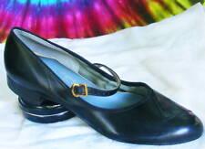 size 9-9.5 vtg 60s black mary-jane ballet flats shoes