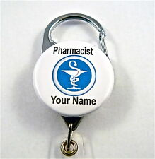 PHARMACIST CARABINER ID BADGE HOLDER RETRACTABLE REEL,KEY STUDENT,PHARMACY TECH