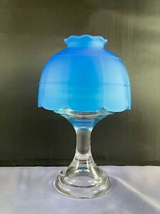 VINTAGE WESTMORELAND BLUE MIST PANELED GLASS FAIRY LAMP W/ CLEAR BASE