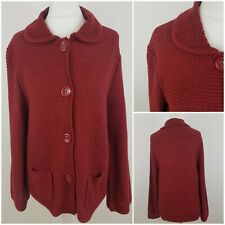 Iz Womens Red Thick Knit Cardigan Top Chunky Buttons Pockets Xmas Christmas L