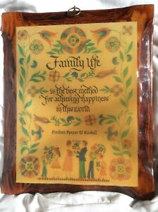 Vtg LDS 1970s Mormon Solid Wood Family Life Spencer W Kimball Wall Plaque Art