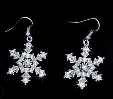 Stunning New Silver Tone Snowflake Austrian Crystal Dangle Earrings Holiday