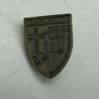 Vintage International Word Of Life Cross Bible Shield Lapel Pin   R1