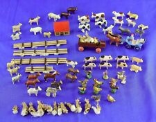 RARE ANTIQUE GERMAN ERZGEBIRGE FARM SET WITH HOUSE WAGON ANIMALS PEOPLE CART