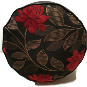 RED ROSE CHENILLE UPHOLSTERY  FABRIC  FAUX LEATHER POUFFE  FLOOR CUSHION