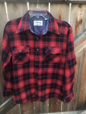 Vintage Lumber Jack Red Black Flannel Shirt Plaid Button Front Casual Size M