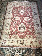 Hand Woven Rug Traditional Oriental Pink Carpet Wool Pink Medium Size