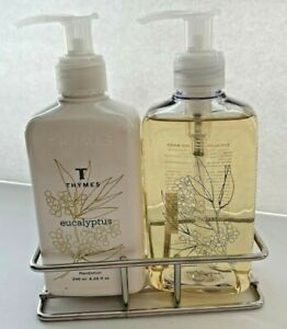 NEW Thymes Eucalyptus Hand Wash and Hand Lotion Set in Chrome Stand Sink Set