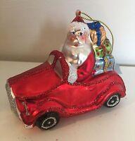Gisela Graham Glass Christmas Retro Santa & Car Tree Decoration Glittered