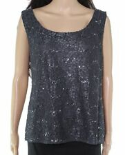 R&M Richards Womens Blouse Charcoal Gray Size 18 Lace Sequin Embellished $89 274