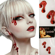Pair Vampire Bite Marks Stickers Red Blood Body Art Sequins Rhinestones Costume