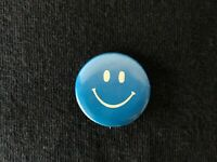 """Vintage Hippie Pin-back Button Pin Blue - Smiley face 1"""" Inch Fast Shipping!"""