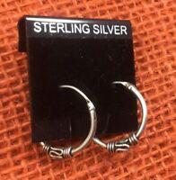 Vintage Sterling Earrings Silver 925 Bali Style Locking petite Pierced Hoops