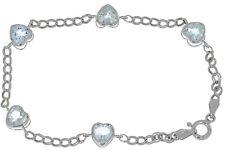 5 Ct Natural Aquamarine Heart Bezel Bracelet .925 Sterling Silver