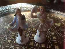 "Antique German Pair Place Card Holders Man Woman Dresden Lace Ceramic 2 1/2"" Hi"