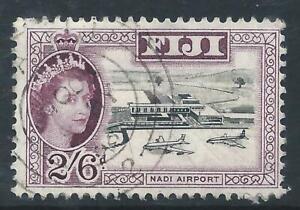 Fiji 1954 QEII Nadi Airport 2/6d Black & Purple Good Used stamp