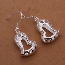 Stunning 925 Sterling Silver Filled Solid Filigree Heart Dangle Earrings E617