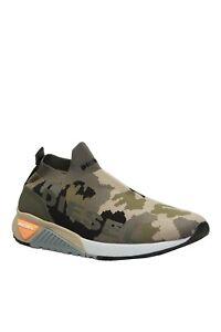Diesel Men S-KB Athletic Sock Sneakers II Military Camo Green Knit
