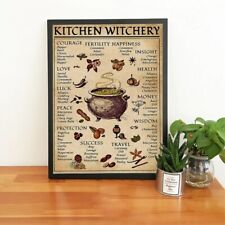 Kitchen Witchery Magic Knowledge Canvas Wall Art Painting Poster Home Decor Gift