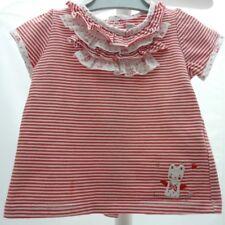 SERGENT MAJOR tee-shirt à manche courte blanc rayé rouge chat bébé fille 9 mois