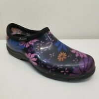 Sloggers 10 Gardening Clogs Purple Blue Slip On Removable Inserts Floral USA