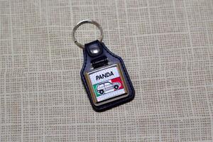 Fiat Panda Keyring - Leatherette & Chrome Keytag