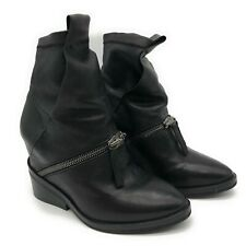 CINZIA ARAIA Black Leather Ankle Zip Buckle Booties Boot Leather Womens 37.5 7.5