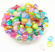 100Pcs 9mm AB Heart Acrylic Mixed Color Spacer Loose Beads DIY Craft Jewelry