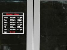 Custom Business Store Hours Sign Vinyl Decal Sticker door, window.