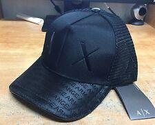 A|X ARMANI EXCHANGE MEN'S BLACK AX RUBBER LOGO BASEBALL CAP HAT NWT