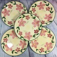 "5 Dinner Plates Green Trim Colorful Floral Decor - 10.5"" / Kitchen Ware"