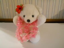 "Vintage 1979 Dakin white Cuddles Teddy Bear Hawaiian Lei flowers 15"" plush     G"