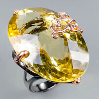 Vintage38ct+ Natural Lemon Quartz 925 Sterling Silver Ring Size 8/R124525