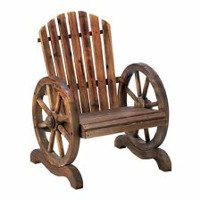 Wagon Wheel Adirondack Chair with slatted wood and wagon wheel arm rests.