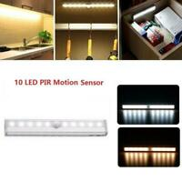 Wireless Battery Powered PIR Motion Sensor 10LED Night Light Lamp Wall Wardrobe