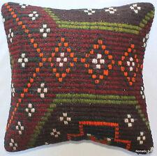 (40*40cm, 16inch) Boho hand woven kelim cushion cover marroon green orange