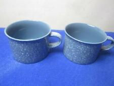 Pair Mikasa Coffee Cups Ultrastone Country Blue with White Specks