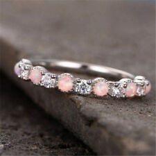 Gorgeous 925 Silver Jewelry Pink Fire Opal Women Party Cocktail Rings Size 6-10