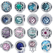 Pink Crystals Silver Charms Beads Fit sterling 925 European charm Bracelet Chain