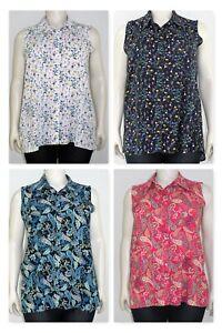 Women`s shirt sleeveless collared button down printed, plus sizes (14-28)