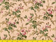 Small Light Red Roses on Light Peach Quilting & Sewing Fabric by Yard #737