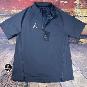 New NIKE Air Jordan Woven 1/4 Zip Short Sleeve Pullover Wind Jacket Gray Mens M