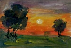 original oil painting ACEO on paper rural sunset fields evening sky tree by SIBY