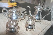 service café théière métal argenté PIONEER EPNS 4 pièces sucrier  pot à crémier