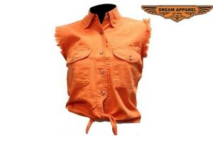 Women's Orange Denim Sleeveless Shirt with Buttons - free shipping
