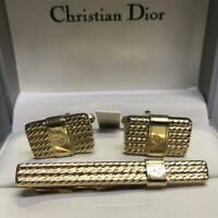 Christian Dior Tie clip Cufflinks Set Gold Mens Accessories Genuine w/Box Used