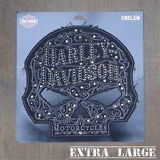 Harley Davidson Authentic Patch - Ornate & Distressed Skull - XL Emblem Badge
